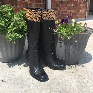 Nine West Tall Leather Boot w/ Fur Trim